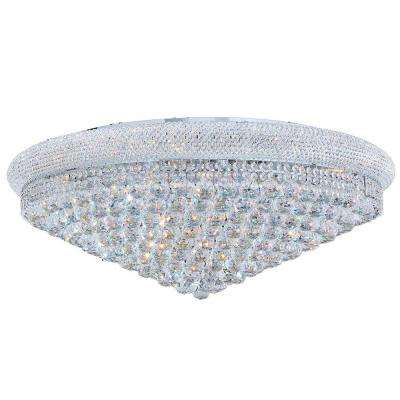 Empire Collection 20-Light Chrome and Clear Crystal Flush Mount