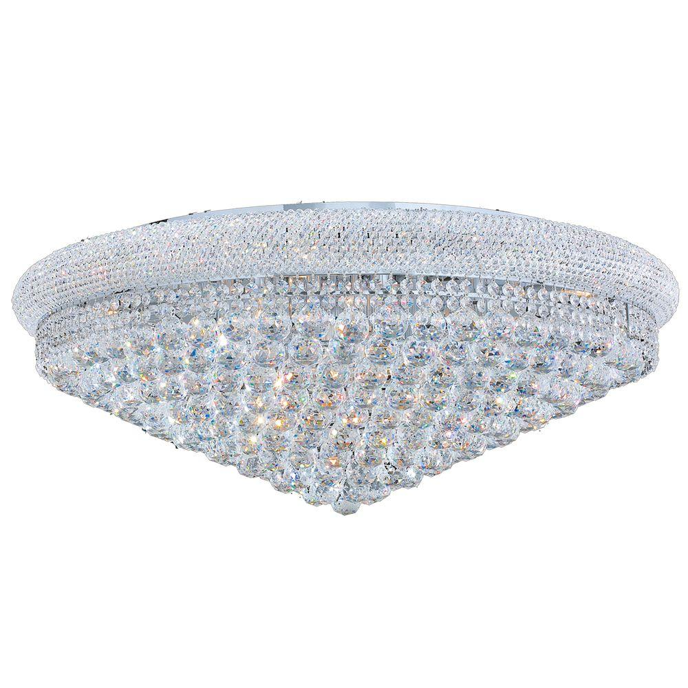 Worldwide Lighting Empire Collection 20-Light Chrome and Clear Crystal Flushmount