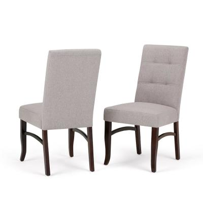 Ezra Contemporary Deluxe Dining Chair (Set of 2) in Cloud Grey Linen Look Fabric