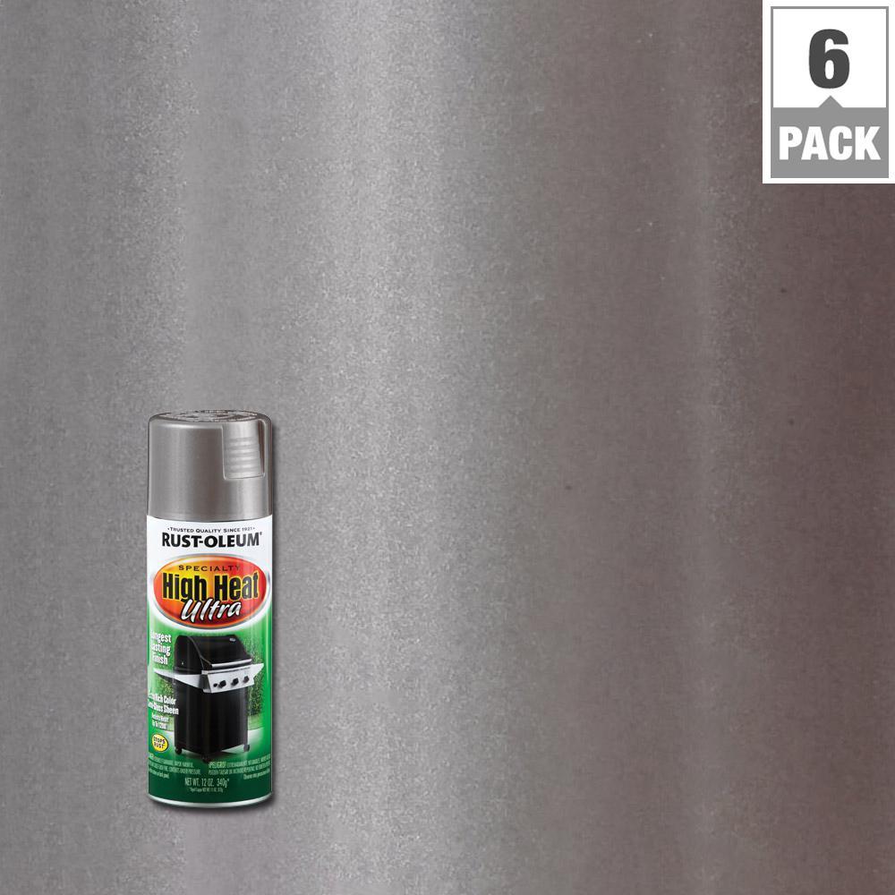 Rust Oleum Specialty 12 Oz High Heat Ultra Semi Gloss Silver Spray Paint 6 Pack