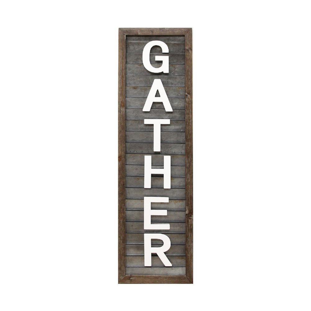 "Galvanized Metal ""Gather"" Wood Wall Panel"