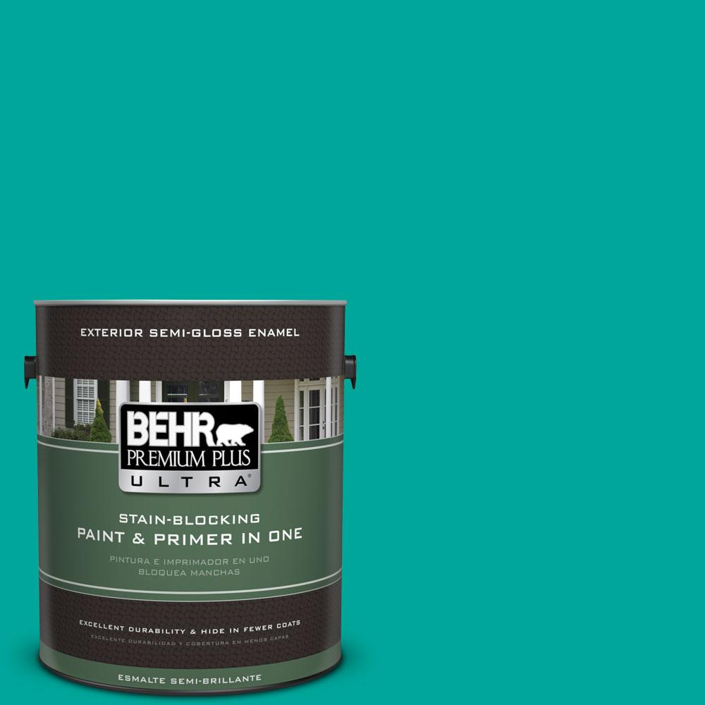 BEHR Premium Plus Ultra Home Decorators Collection 1-gal. #HDC-MD-22 Tropical Sea Semi-Gloss Enamel Exterior Paint