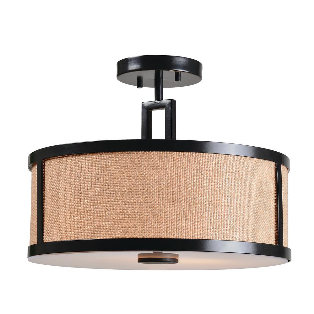 Kenroy Home Lighting Keen Bronze Pendant Light With Drum: Kenroy Home Keen 2-Light Bronze Semi Flush Mount-93361BRZ