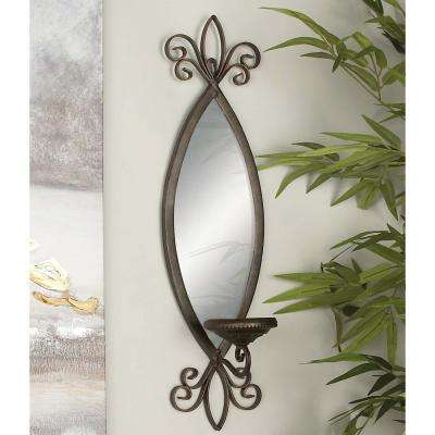 25 in. New Traditional Wall Candle Sconce with Elliptical Mirror