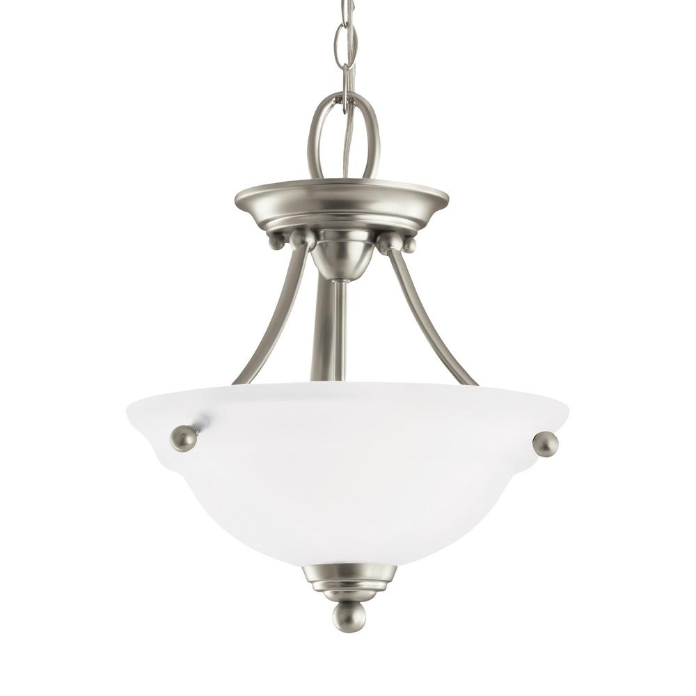 super popular f8a24 8faf6 Sea Gull Lighting Wheaton 2-Light Brushed Nickel Semi-Flush Mount  Convertible Pendant