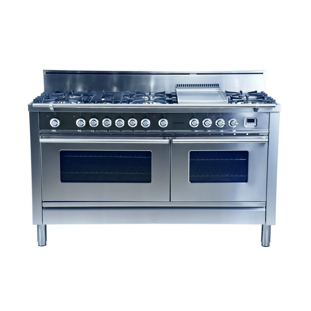 hallman 60 in 5 9 cu ft double oven dual fuel range with true convection 8 burners and. Black Bedroom Furniture Sets. Home Design Ideas