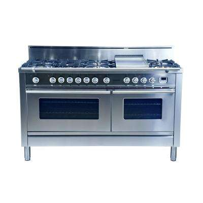 60 in. 5.9 cu. ft. Double Oven Dual Fuel Range with True Convection, 8 Burners, and Griddle in Stainless Steel