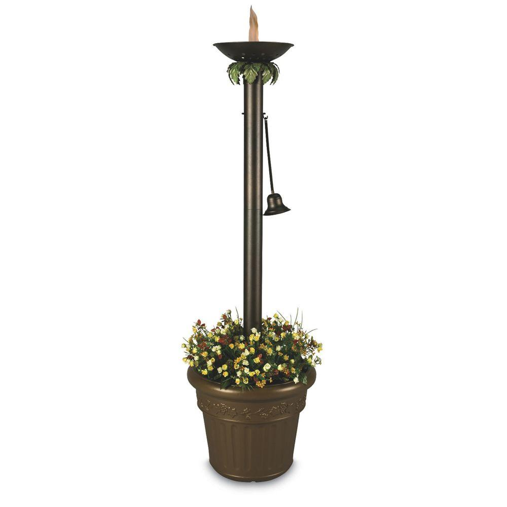 Patio Living Concepts 19 in. Vesta Citronella Flame Outdoor Torchiere Floor Lamp Bronze with Planter-DISCONTINUED