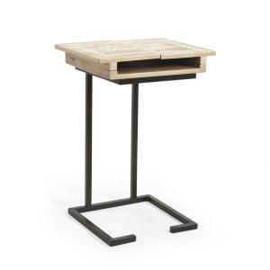 Natural Brown and Black End Table by Noble House