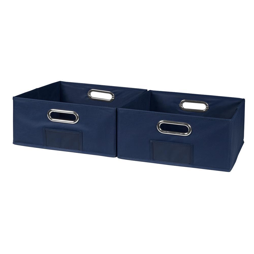 Cubo 12 in. x 6 in. Blue Folding Fabric Bin (2-Pack)