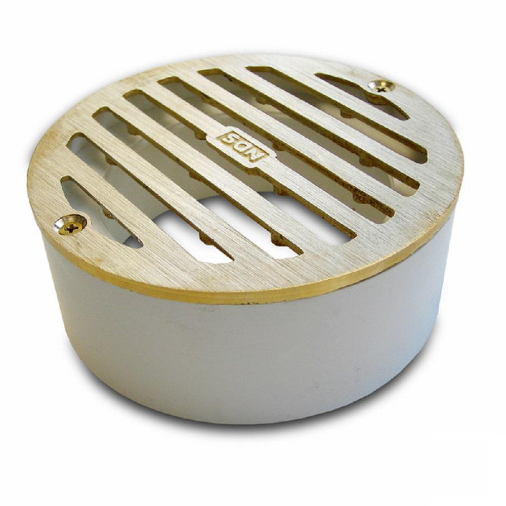 NDS 3 in. Round Solid Brass Grate with PVC Collar