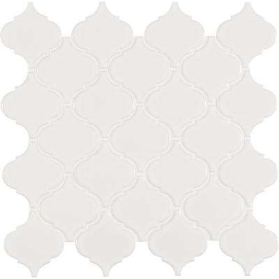 White Glossy Arabesque 11 in. x 11 in. x 6 mm Porcelain Mesh-Mounted Mosaic Tile (15.46 sq. ft. / case)