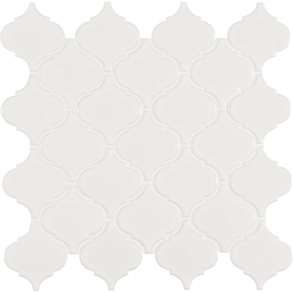 MSI MSI White Glossy Arabesque 11 in. x 11 in. x 6 mm Porcelain Mesh-Mounted Mosaic Tile (15.46 sq. ft. / case)