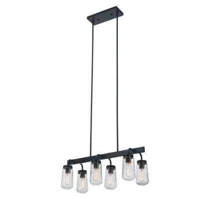 Tyson 6-Light Matte Black Outdoor/Indoor Hanging Chandelier