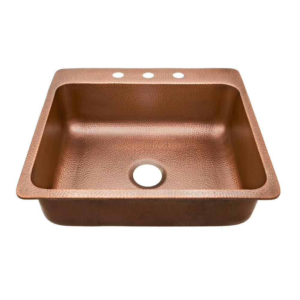 Sinkology Rosa Drop In Copper Sink 25 3 Hole Single Bowl Kitchen Antique Sk102 25ac The Home Depot