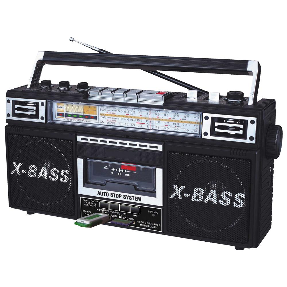 J22-U 4 Band Radio (FM/AM/SW1/SW2) and Cassette to MP3 Converter Boombox Old school meets new school with QFXs J-22U AM/FM/Cassette Player. The J-22U converts your favorite cassette tracks to MP3 on USB or SD storage, preserving your extensive retro tape collection for generations to come.
