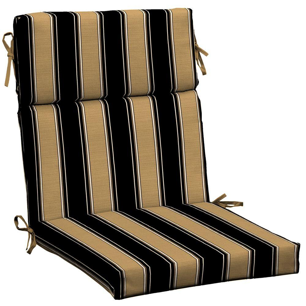 Hampton Bay New Twilight Stripe With Roux Outdoor Dining Chair Cushion-DISCONTINUED