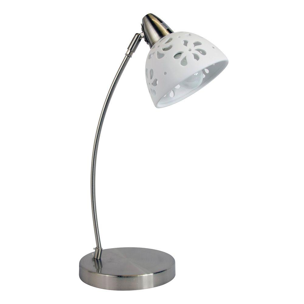 Simple Designs 20.28 in. Brushed Nickel Desk Lamp with White Porcelain Flower Shade