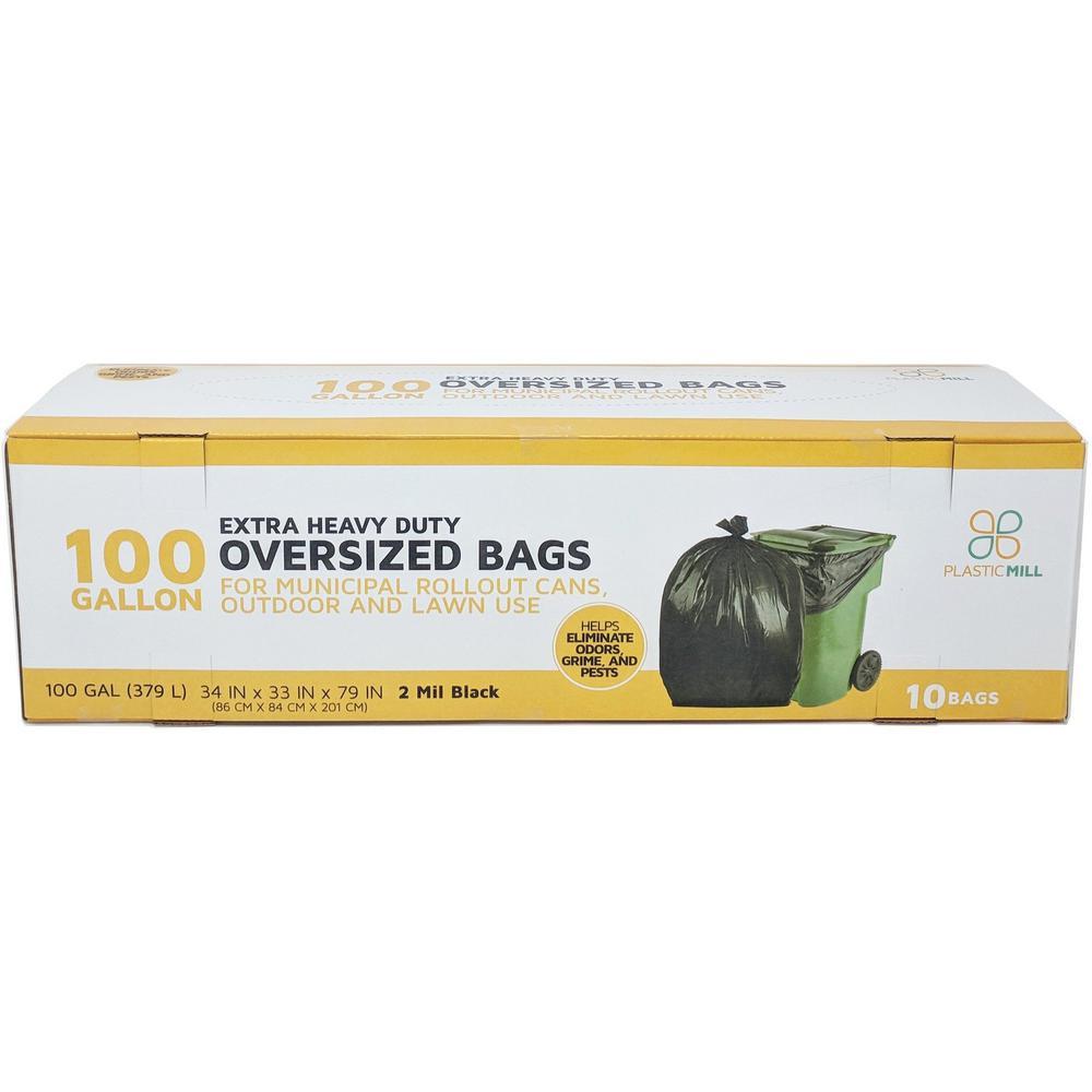 67 in. W x 79 in. H. 100 Gal. 2 mil Black Heavy-Duty Bags (10-Case)