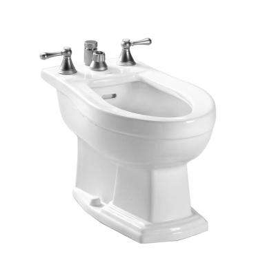 Clayton Elongated Bidet for Vertical Spray in Cotton White