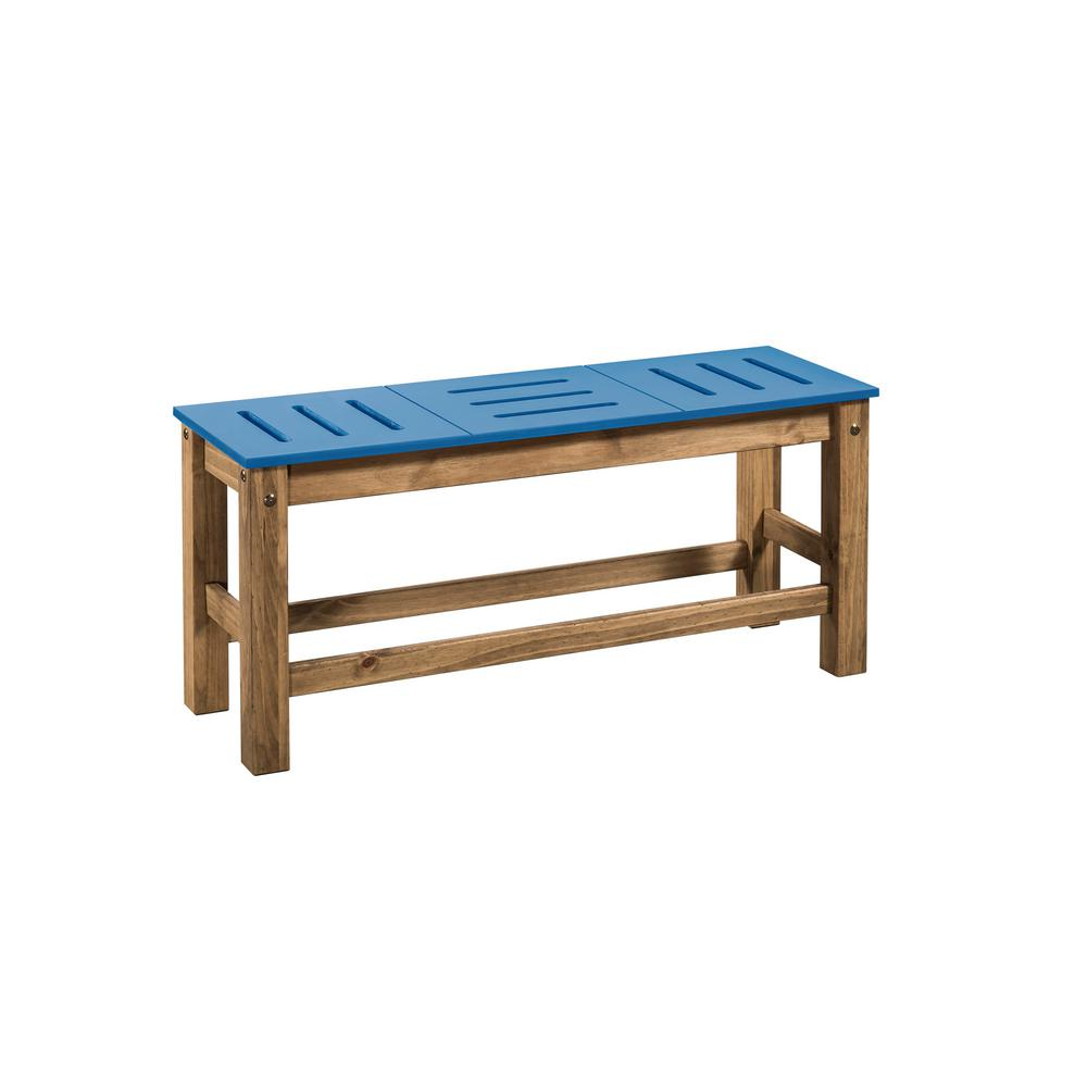 Stillwell 37.8 in. Blue and Natural Wood Bench (Set of 2)