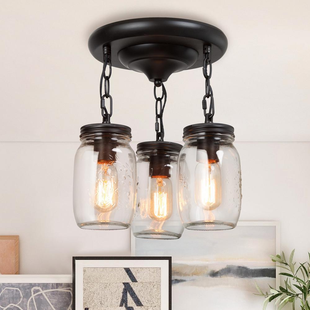 Semi Flush Mount Ceiling Light Mina 3-Light Oil-Rubbed Bronze Farmhouse Flush Mount Light Mason Jar Glass Pendant Light