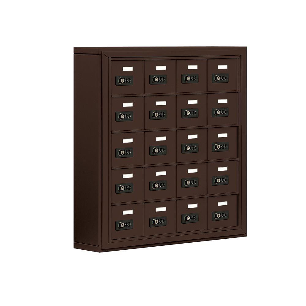 Salsbury Industries 19000 Series 30.5 in. W x 31 in. H x 6.25 in. D 20 A Doors S-Mount Resettable Locks Cell Phone Locker in Bronze
