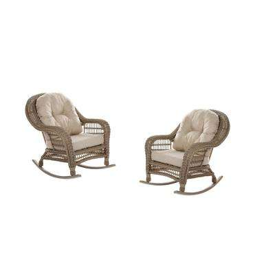 Saturn Wicker Outdoor Rocking Chair with Beige Cushion (2-Pack)