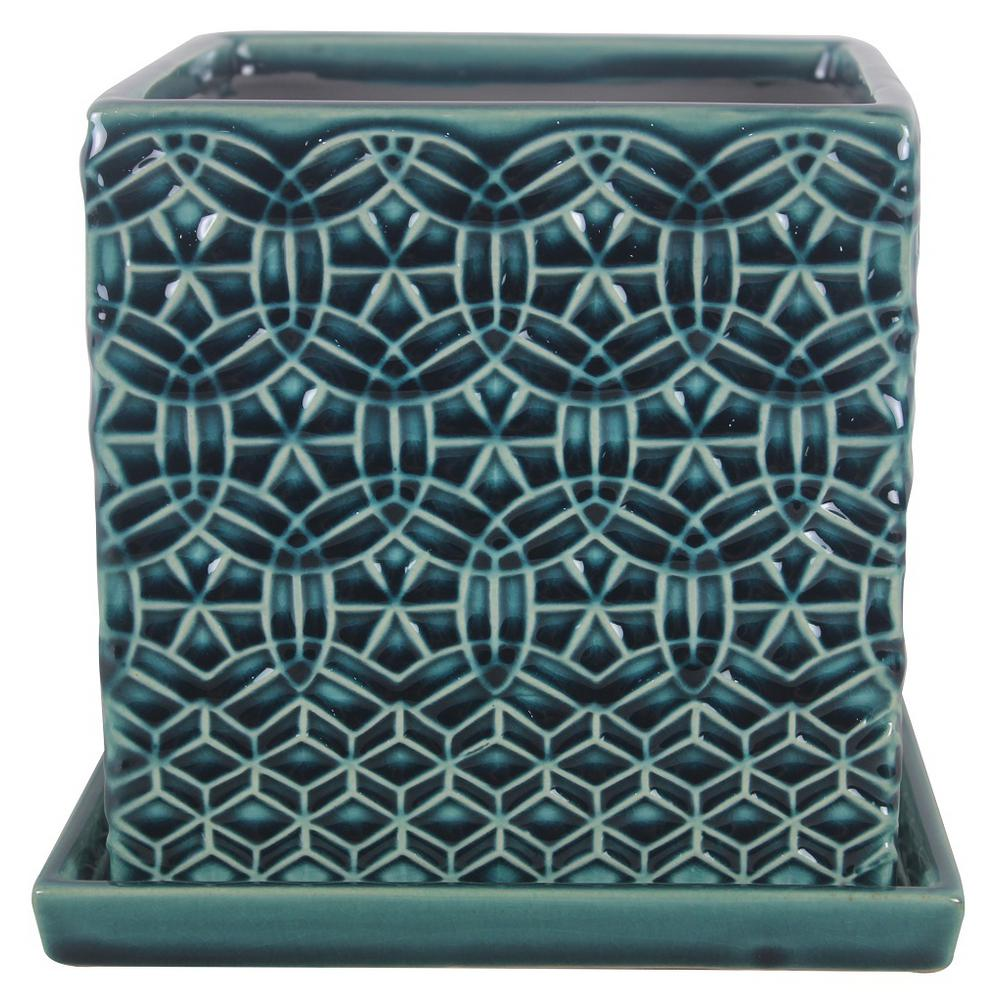 Trendspot 6 in. Dia Blue Rivage Ceramic Square Planter