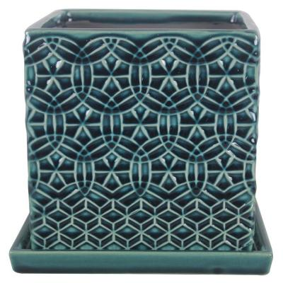 6 in. Blue Rivage Square Ceramic Planter
