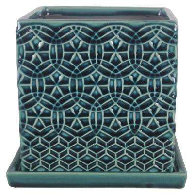 6 in. Dia Blue Rivage Ceramic Square Planter
