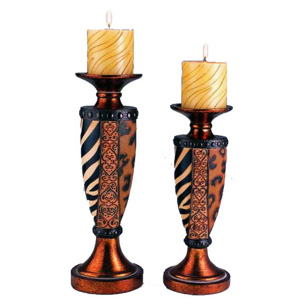 ORE International 12 in. and 14 in. H Safari Candle Holder Set