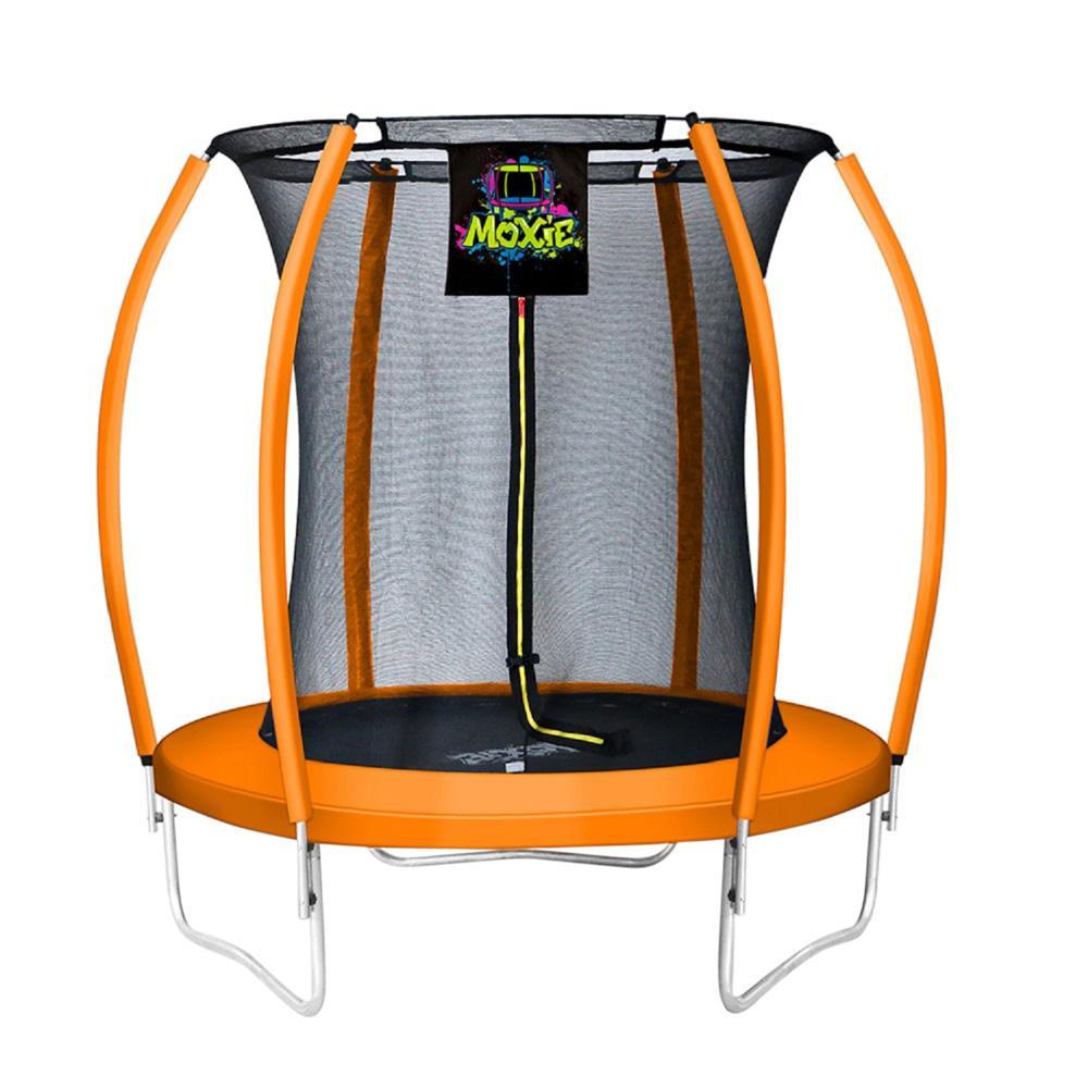 6 ft. Orange Pumpkin-Shaped Outdoor Trampoline Set with Premium Top-Ring Frame Safety Enclosure