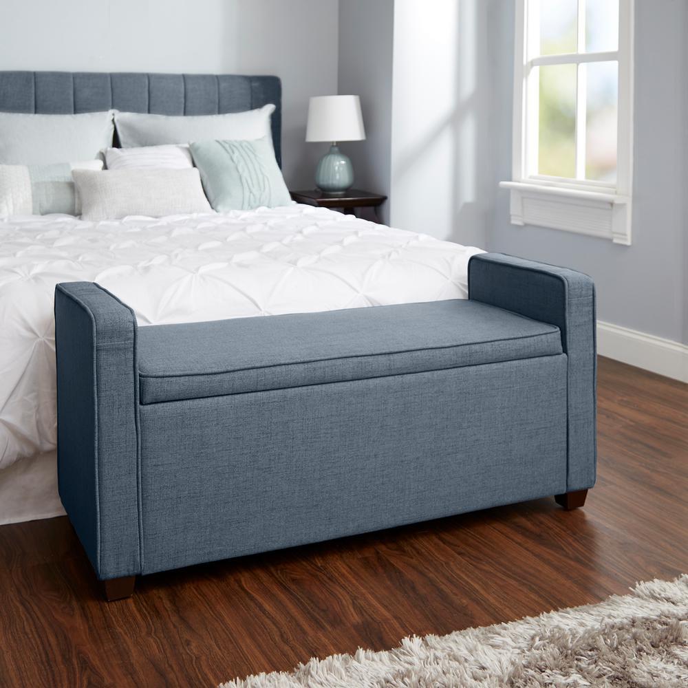 Silverwood Madeline Dark Gray Upholstered Storage Bench