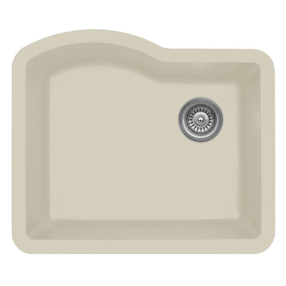 Karran Undermount Quartz Composite 24 In. Single Bowl Kitchen Sink In Bisque