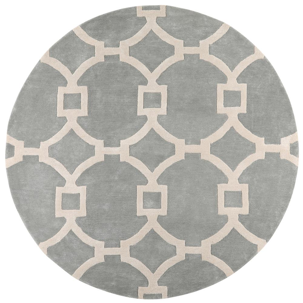 Sawyer Blue Haze/White 7 ft. 9 in. x 7 ft. 9 in. Round Area Rug