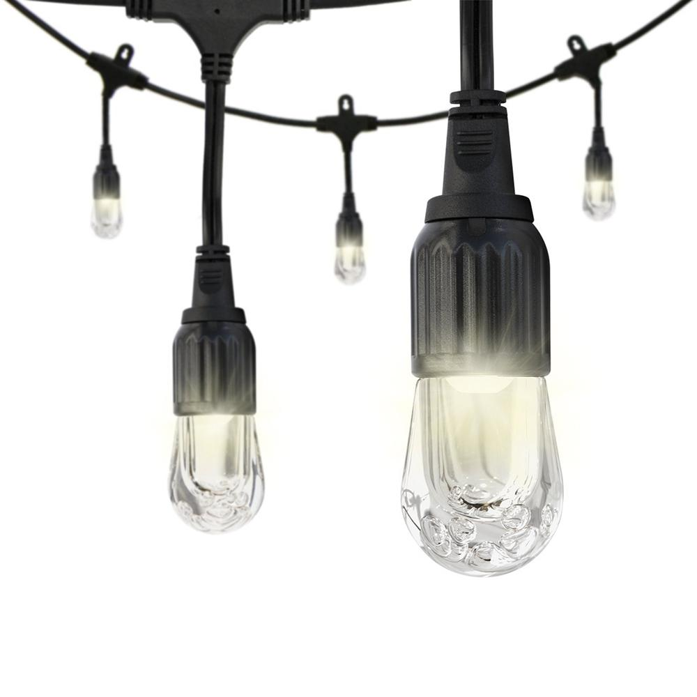 Enbrighten 12 bulb 24 ft black integrated led cafe string light 31662 the home depot - Exterior led lights for homes ...