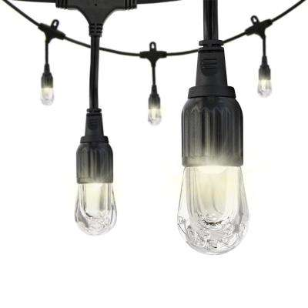 12-Bulb 24 ft. Black Integrated LED Cafe String Light