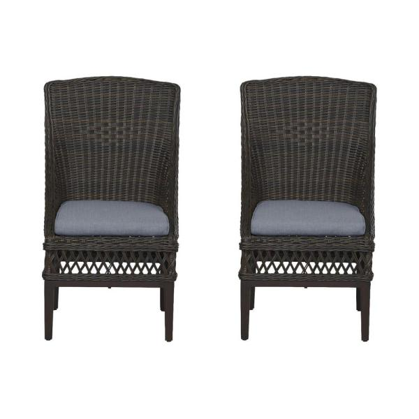 Woodbury Dark Brown Wicker Outdoor Patio Dining Chair with CushionGuard Steel Blue Cushions (2-Pack)