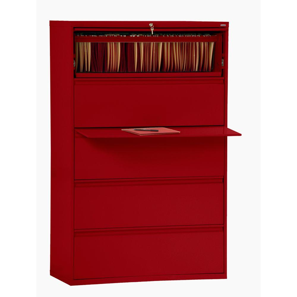 sandusky 800 series red file cabinet lf8f425 01 the home depot rh homedepot com red rolling file cabinet red oak file cabinet