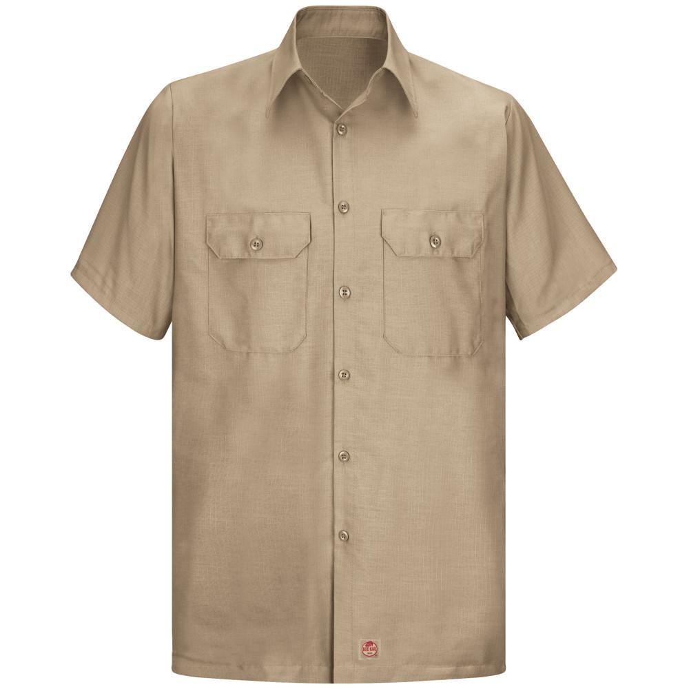 Men's Size 2XL (Tall) Khaki Solid Rip Stop Shirt