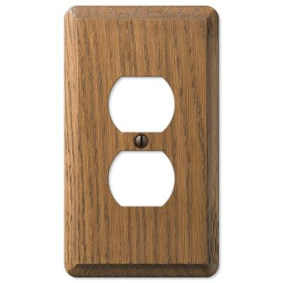 Contemporary 1 Gang Duplex Wood Wall Plate - Medium Oak