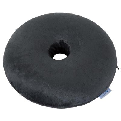 Memory Foam Donut Pillow Cushion with Zippered Black Plush Cover