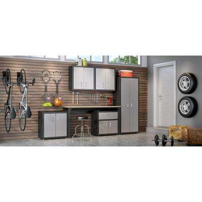 Fortress 74.8 in. H x 102.7 in. W x 18.2 in. D (6-Piece) Garage Cabinet Set with Cabinets, Wall Units and Table in Gray