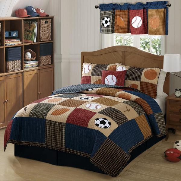 My World Classic Sports Twin Quilt with Pillow Sham QS6090TW-2300