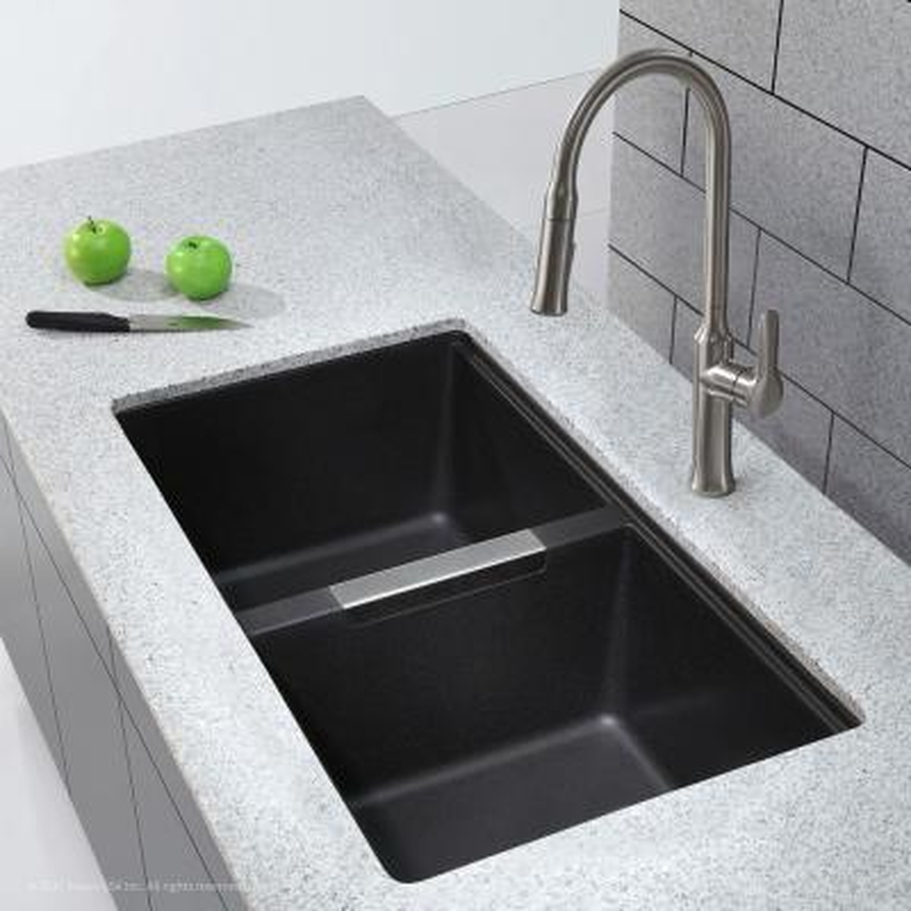 Undermount Granite Composite 33 in. 50/50 Double Basin Kitchen Sink Kit in Black