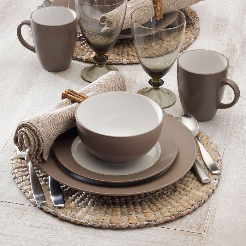 16-Piece Taupe Dinnerware Set