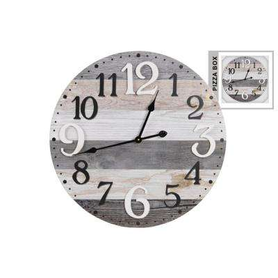 23.75 in x 23.75 in Round Multi-Colored Natural Painted Wall Clock