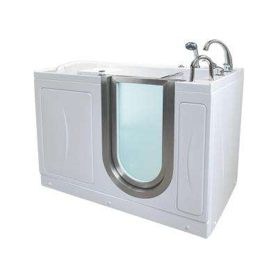 Elite 4.33 ft. x 30 in. Acrylic Walk-In Infusion MicroBubble Air Bathtub in White with Dual Drain/Right Door