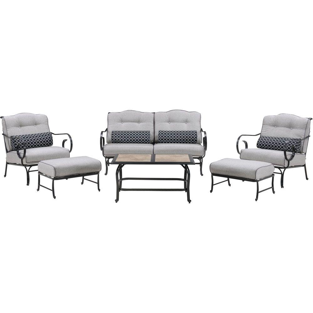 Metal Seating Set Tile Top Coffee Table Lining Cushions